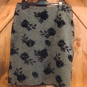 Grey midi skirt with black velveteen floral roses